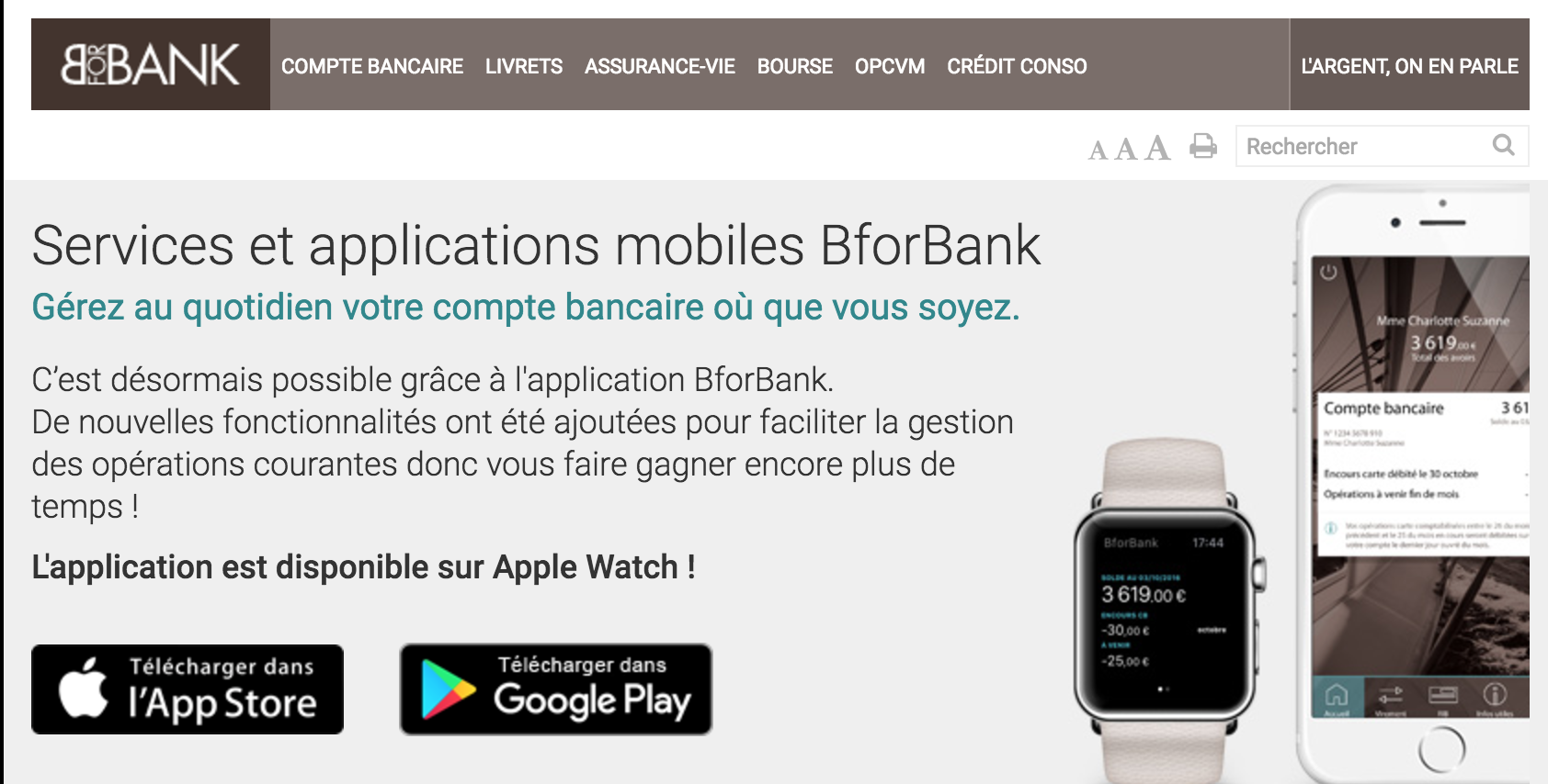 BforBank sur Apple Watch
