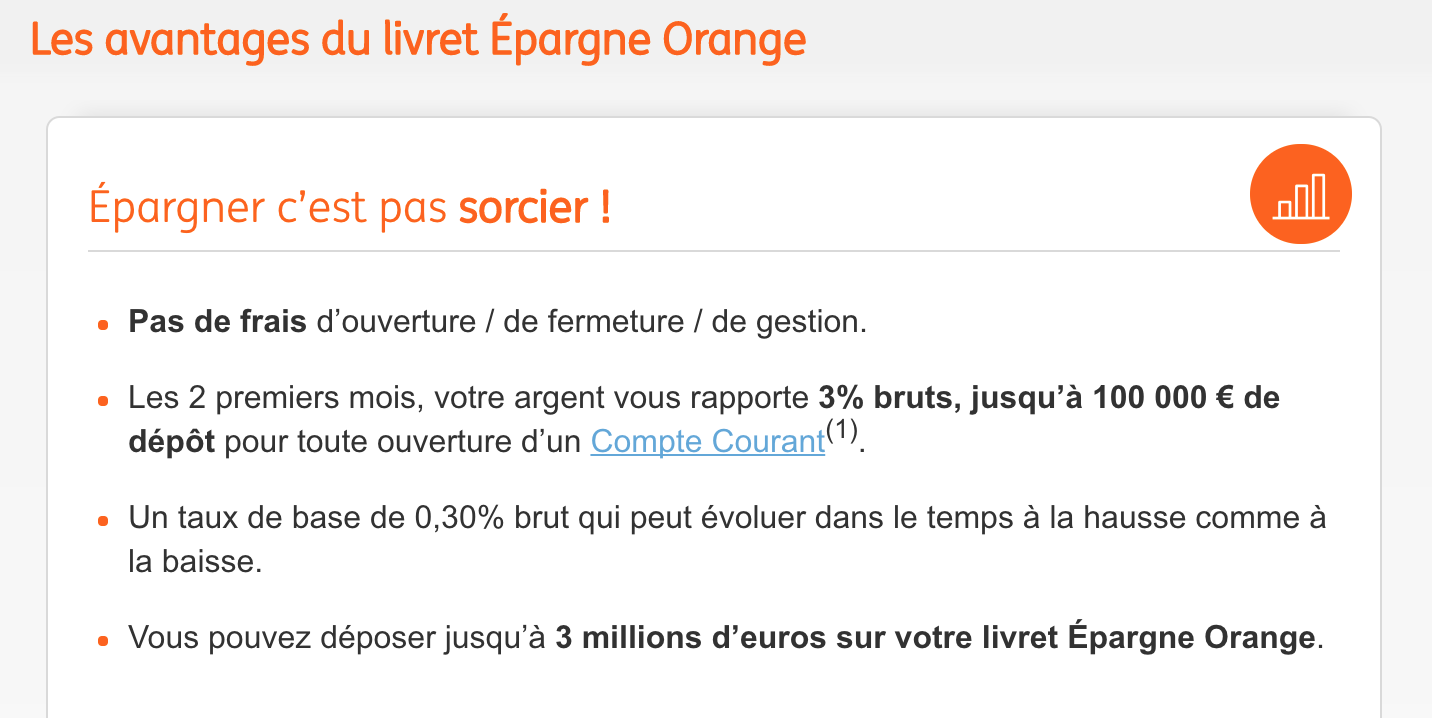 avantages livret Epargne Orange ING Direct